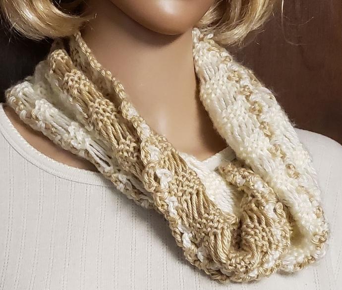 Cream & Tan Cowl Hand Knit