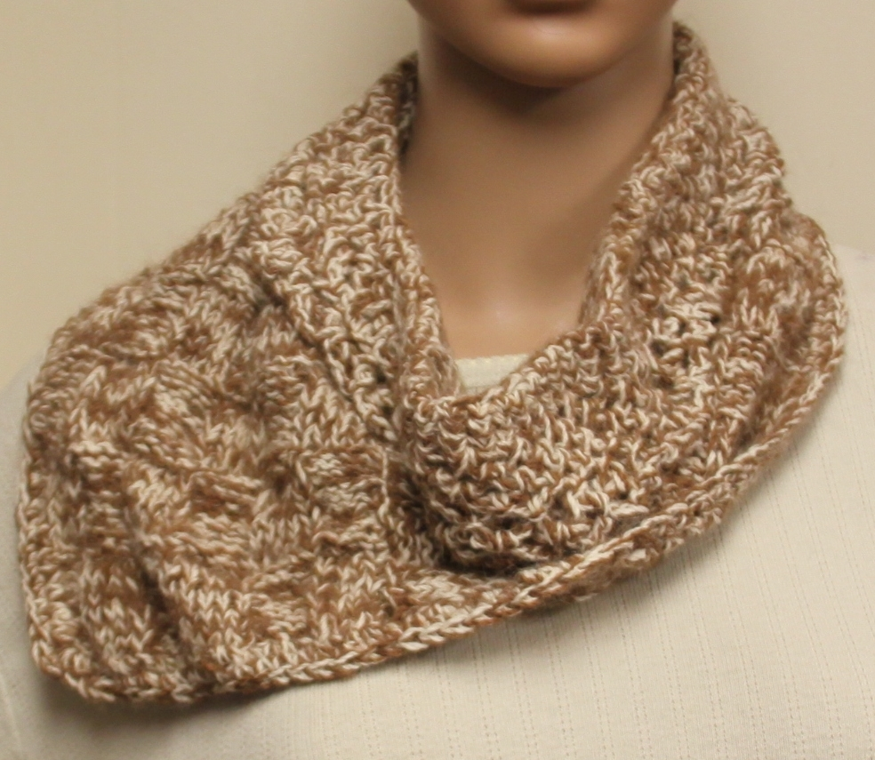 Hand Knit Wool Cowl Brown and White