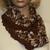 Hand Knit Cowl Brown White Tan
