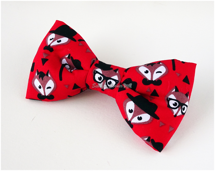 Foxy Gentleman Bow Tie for Pets, Red, Cat accessories, Handmade Bows