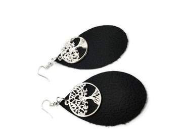 Tree of Life Leather Earrings