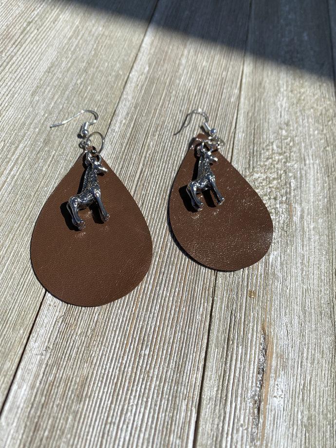Goatskin Leather Earrings  Giraffe Earrings