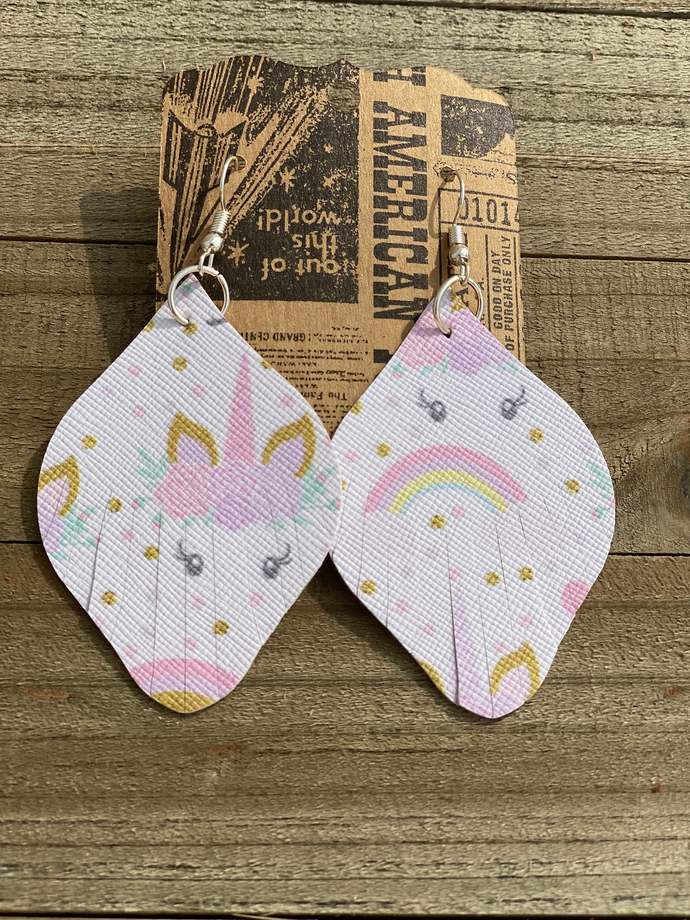 Unicorn Faux Leather Earrings