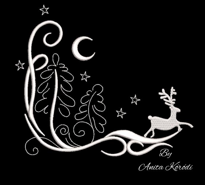 Christmas landscape deer machine embroidery design designs instant digital