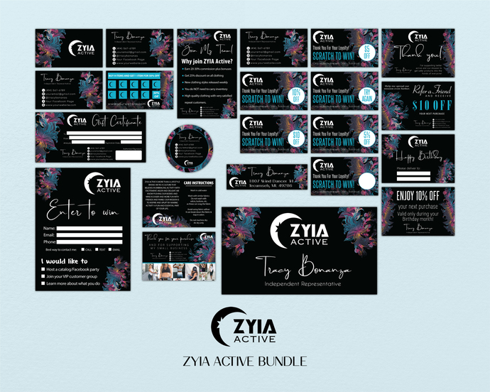 Floral ZYIA Cards, ZYIA Marketing Package, Floral Zyia Marketing Bundle,