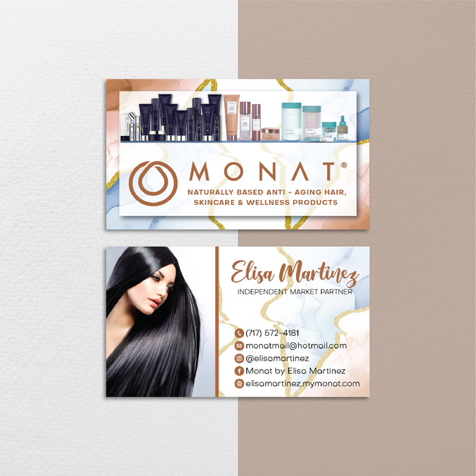 Marble Monat Business Cards, Marble Custom Monat Business Cards, Monat Care