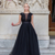Black Prom Dress,A-Line Prom Gown,O-Neck Evening Dress,Tulle Prom Gown 0242