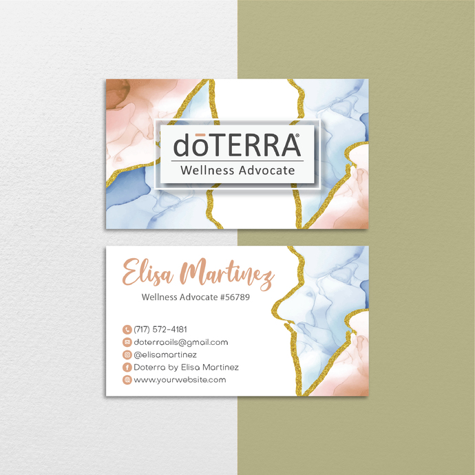 Watercolor Personalized Doterra Business Card, Watercolor Essential Oil Business