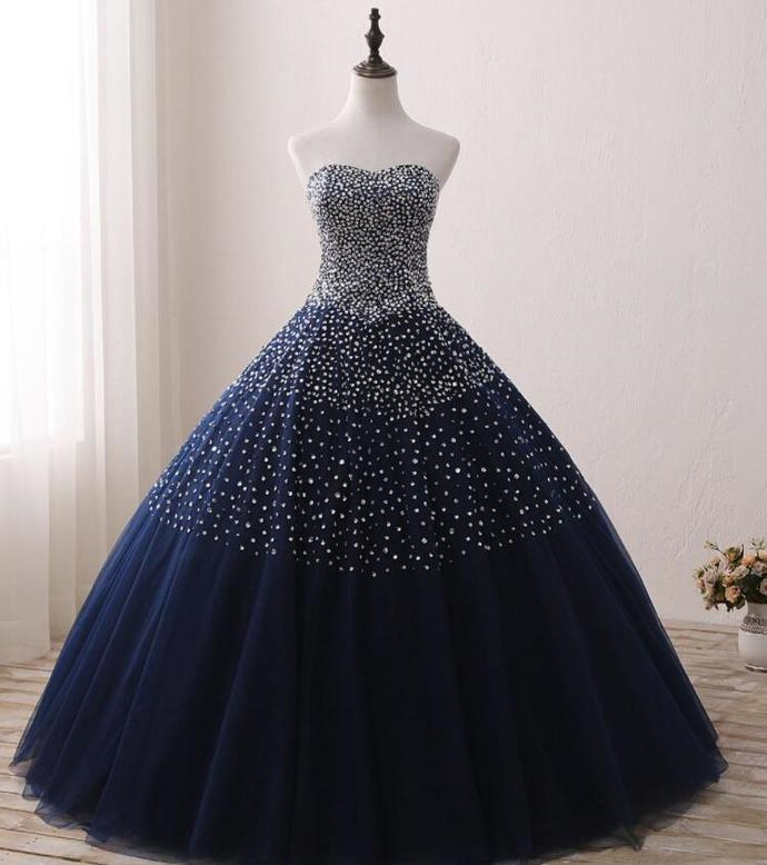 Navy Blue Ball Gown Sparkle Beaded Party Dress, Blue Tulle Sweet 16 Gown