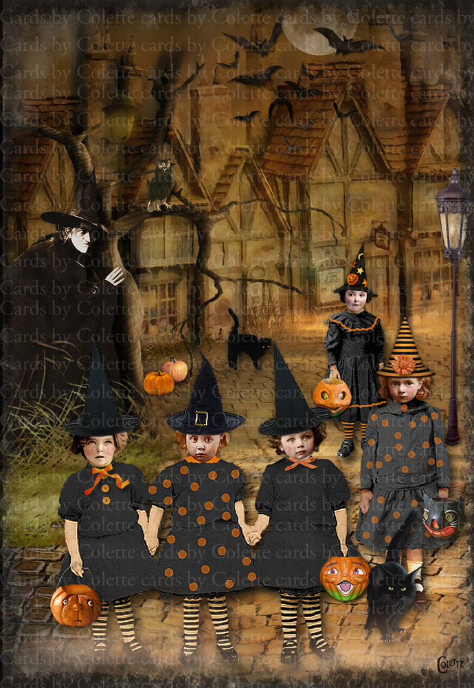 Halloween Witch Watching Tricksters Digital Collage Greeting Card2308