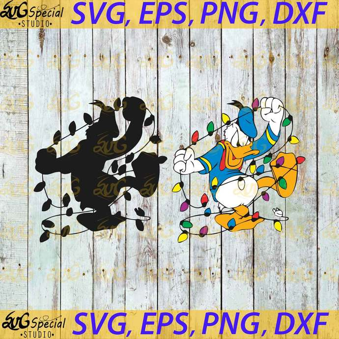 Donald Duck Christmas Light Svg, Disney Svg, Christmas Svg, Funny Duck Svg,