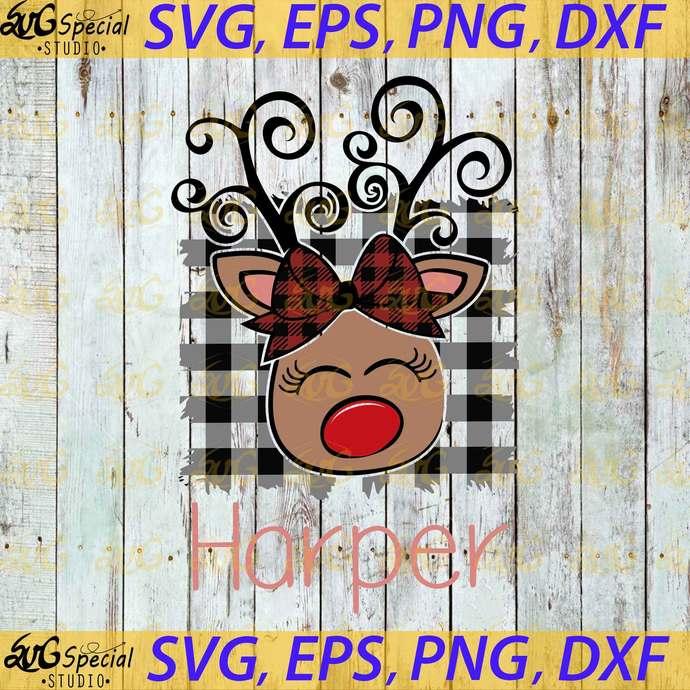 Reindeer Svg, Harper Svg, Cricut, Clipart, Buffalo Paid Svg, Christmas Svg,