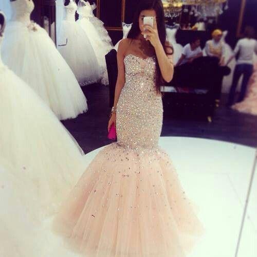 peachy evening dresses long crystal beaded mermaid sweetheart neck elegant
