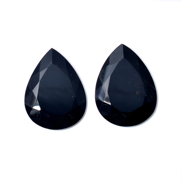 Black Spinel Faceted Pear Loose Gemstone, Black Spinel Pear , Onyx Faceted