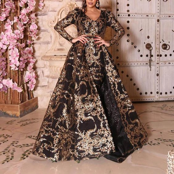 black and gold prom dresses with detachable skirt sparkly vintage modest prom
