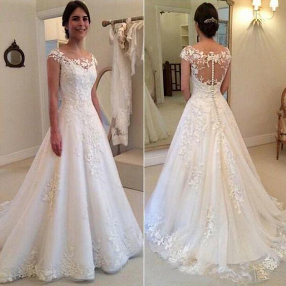 a-line wedding dresses for bride off white lace applique elegant cap sleeve