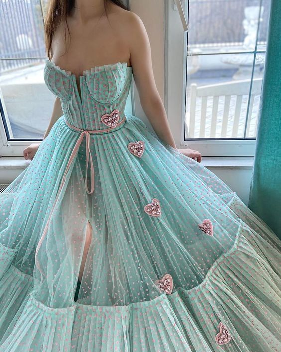beautiful turquoise blue senior prom dresses 2021 dotted tulle floral elegant