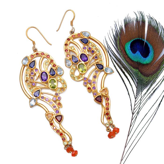 Amethyst Silver Earring , Garnet Silver Earring ,Citrine Silver Earring,Peridot