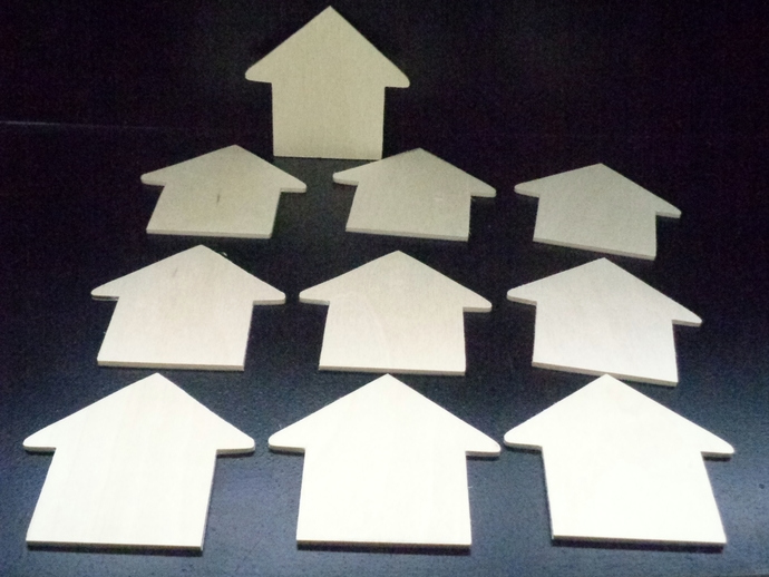 Pkg of 10  Houses  Unfinished Wood Cutouts WCO-31-18