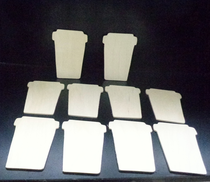 Pkg of 10 Coffee Cup  unfinished Wood Cutouts WCO-24-18