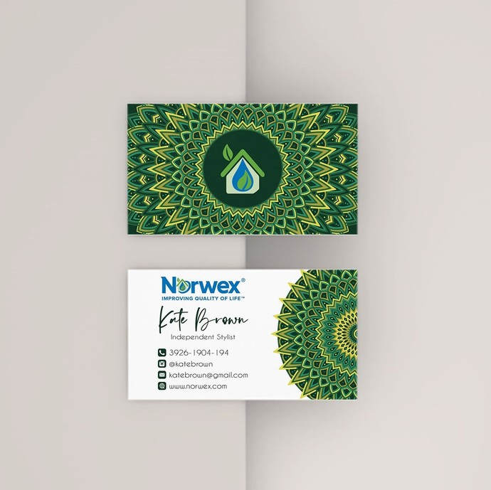 Green Mandala Norwex Business Cards, Personalized Gold Norwex Template NW10