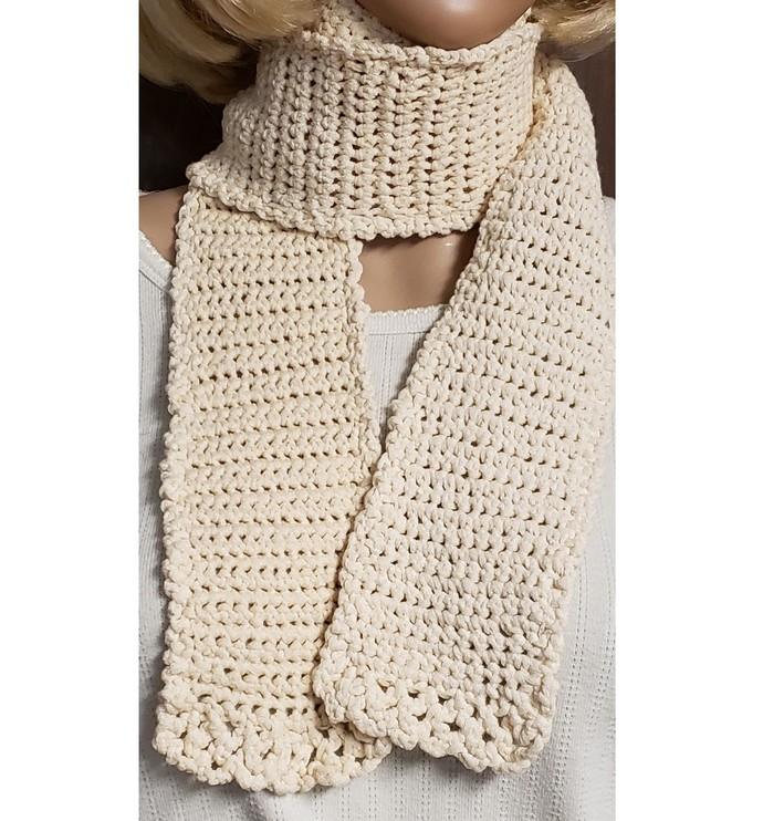 White Cotton Scarf Hand Knit