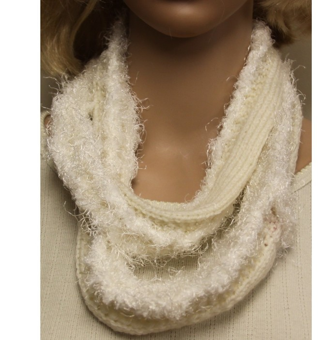 White Hand Knit Infinity Cowl Scarf