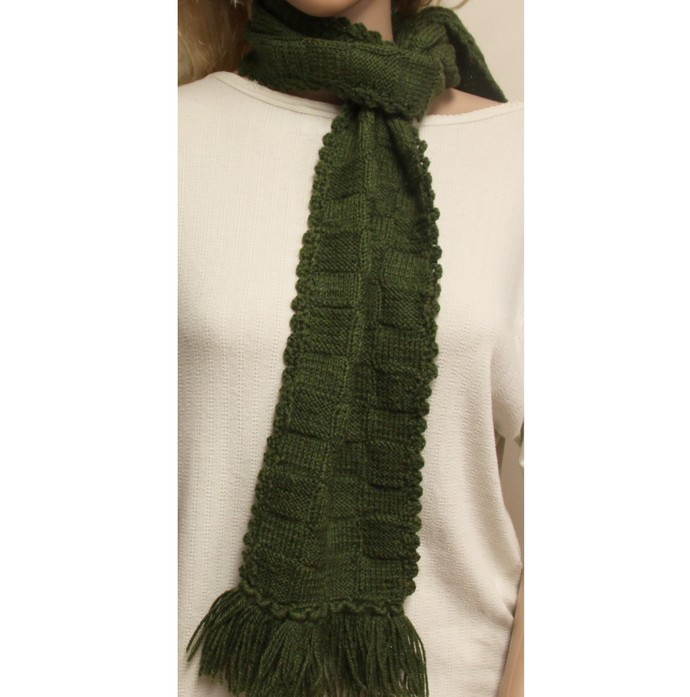 Green Scarf Hand Knit