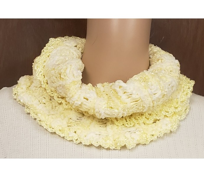 Yellow Infinity Cowl Hand Knit