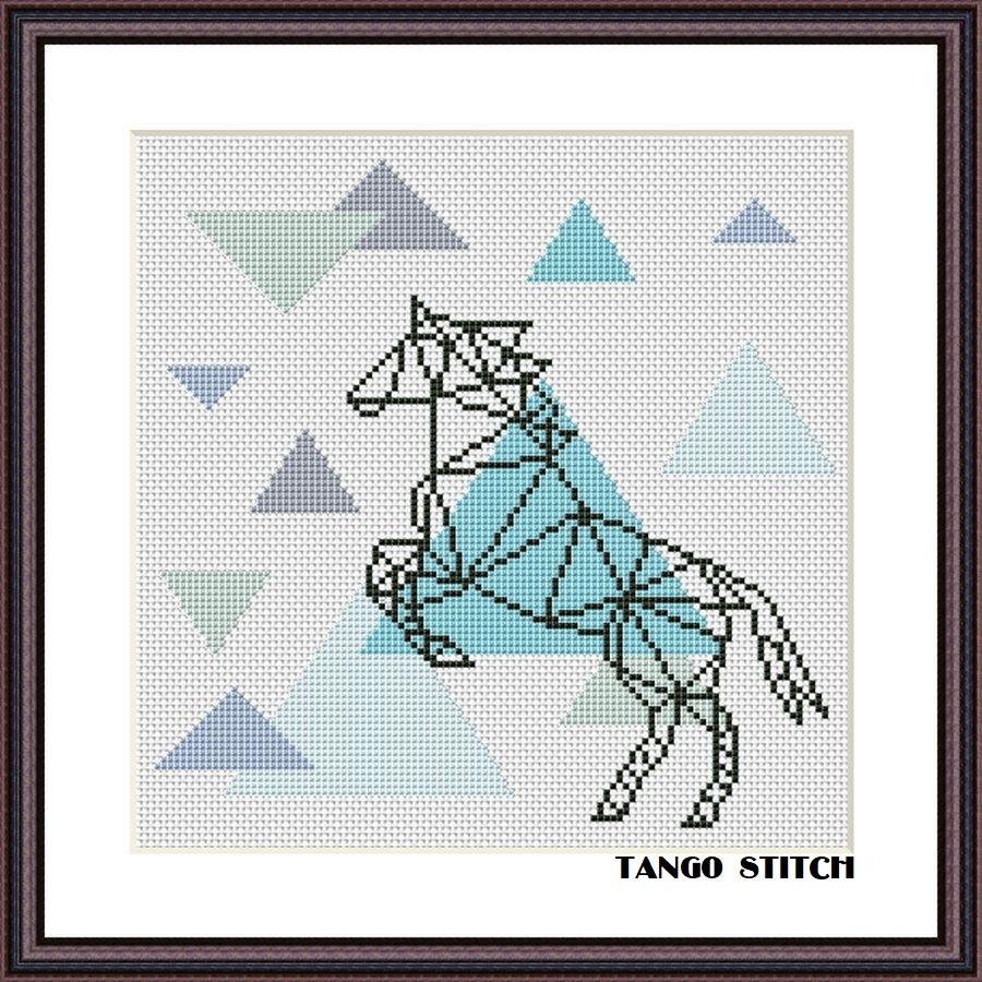Geometric horse cross stitch pattern Scandinavian design