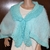 Turquoise Collared Poncho Shawl Hand Knit
