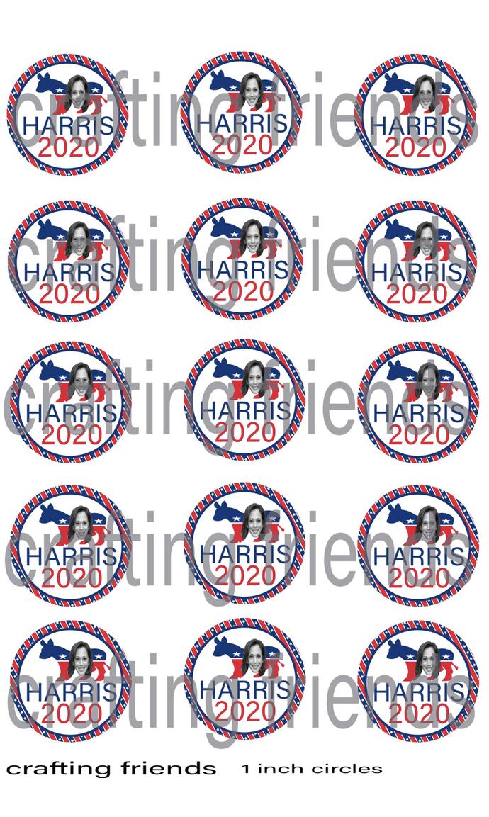 Kamala Harris bottle cap images, handmade bottle cap images or cupcake topper
