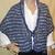 Wool Shawl Hand Knit Purple & Grey