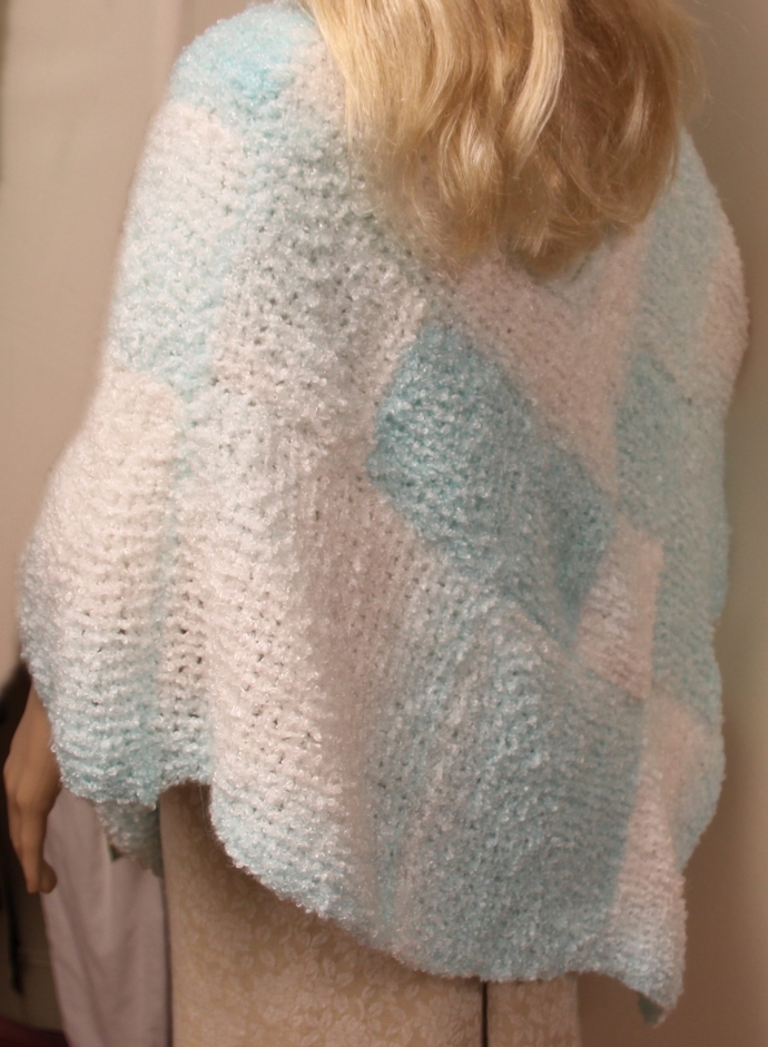 Turquoise and White Poncho Hand Knit