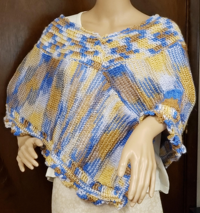 Hand Knit Poncho Blues, Tans, and White