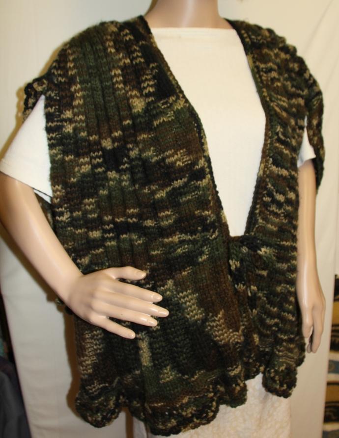 Camo Poncho Hand Knit
