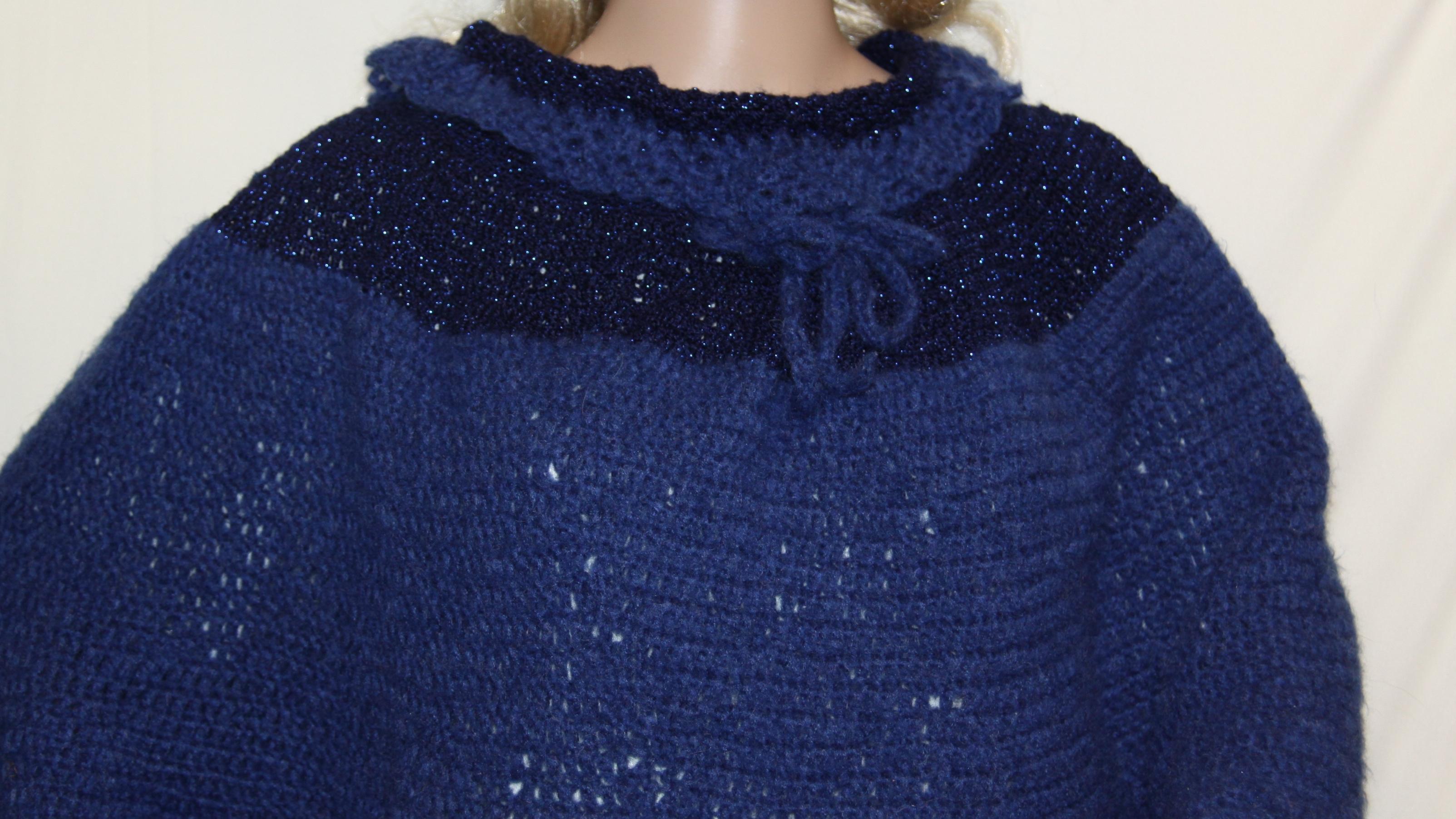 Dark Blue Mohair Poncho Hand Crocheted