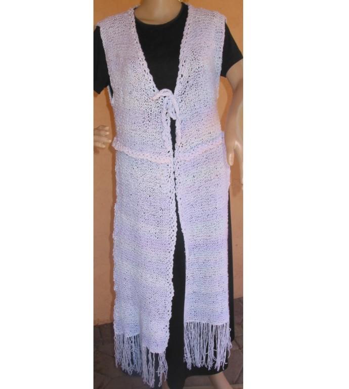 Shrug Scarf Hand Knit White & Lavender