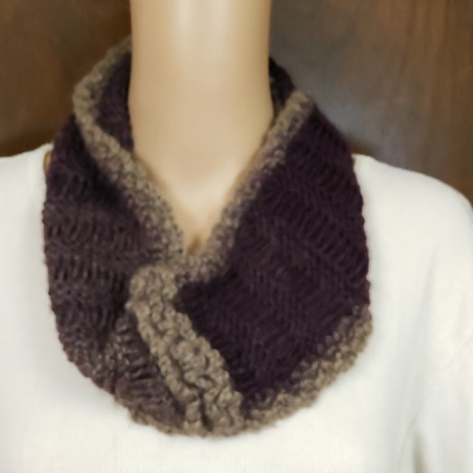 Infinity Cowl Scarf Hand Knit Magenta & Tan