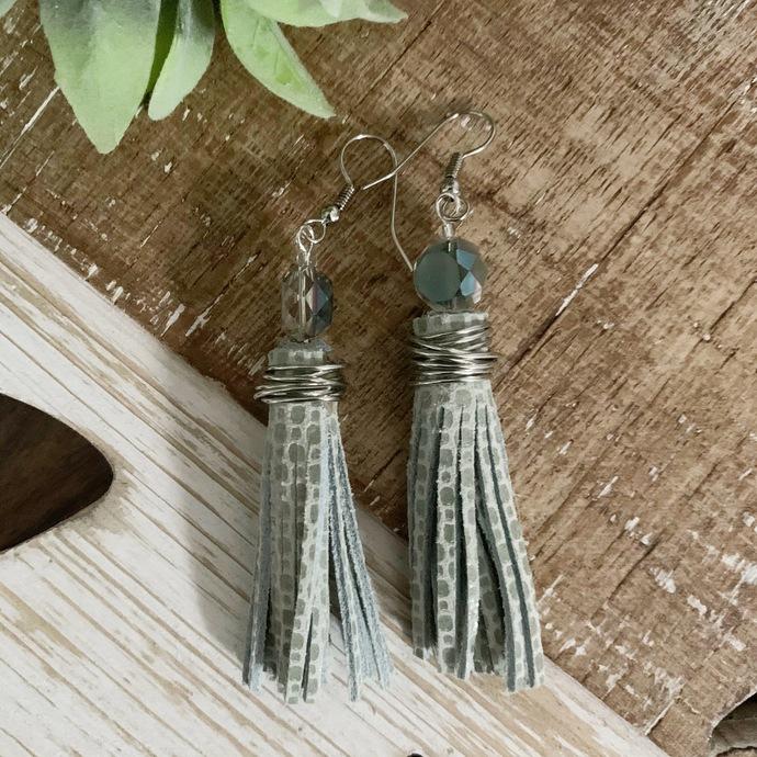 Blue Sky Leather Tassel Earrings