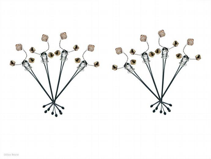 Romantic Hair Pins Golden Copper Swarovski Crystal Set Of Six Bobby Pins