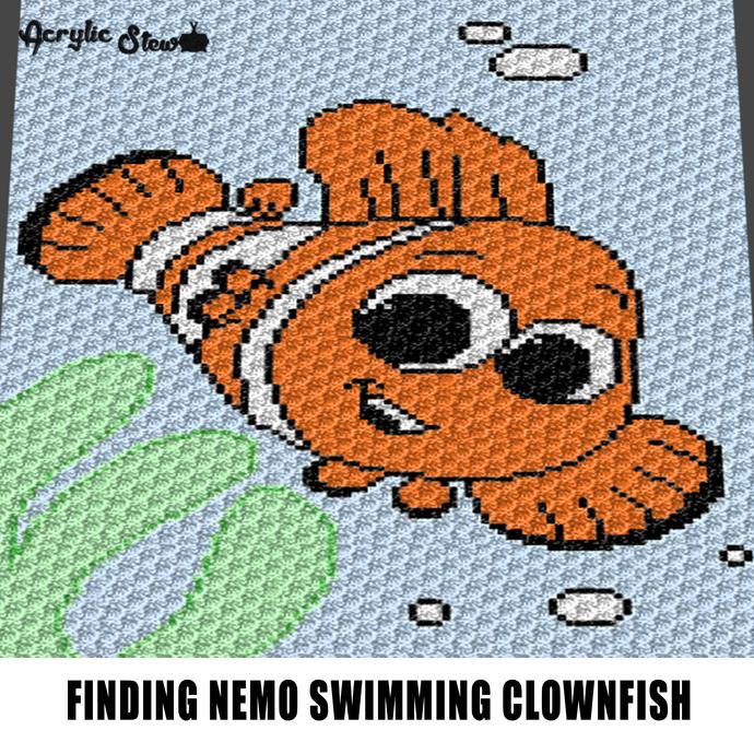 Finding Nemo Clownfish Pixar Cartoon Character crochet graphgan blanket pattern;