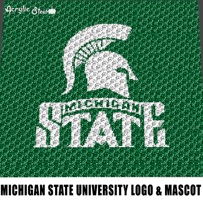 Michigan State Univ Spartans Logo Mascot crochet graphgan blanket pattern;