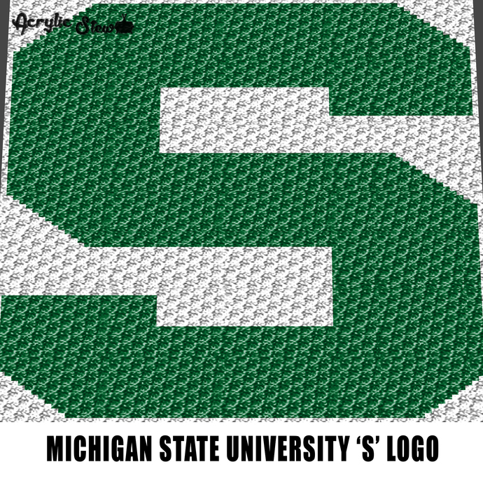 Michigan State Spartans Letter S Logo crochet graphgan blanket pattern; graphgan