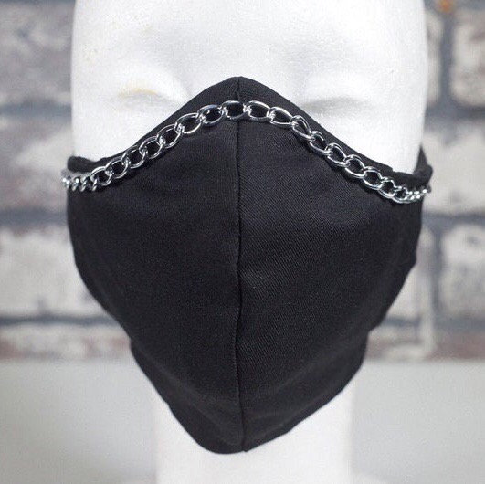 Gunmetal Silver Chain Trim Black 2-Layer Fitted Face Mask with Filter Pocket