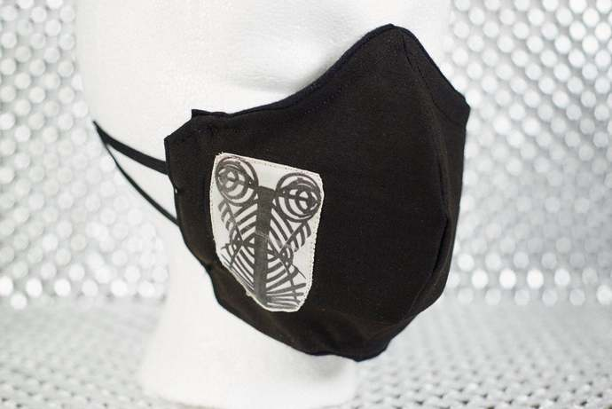 Black Fetish Cage Corset 2-Layer Fitted BDSM Face Mask with Filter Pocket