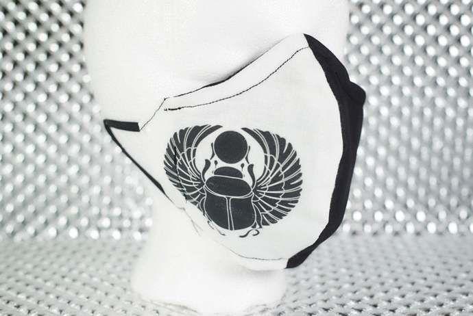 Black / White Split Egyptian Scarab Symbol 2-Layer Handmade Fitted Face Mask