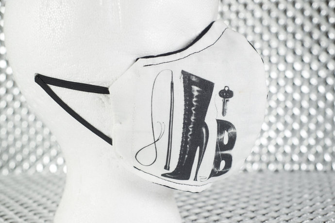 Black / White Fetish Boot & Whip 2-Layer Face Mask with Filter Pocket BDSM The