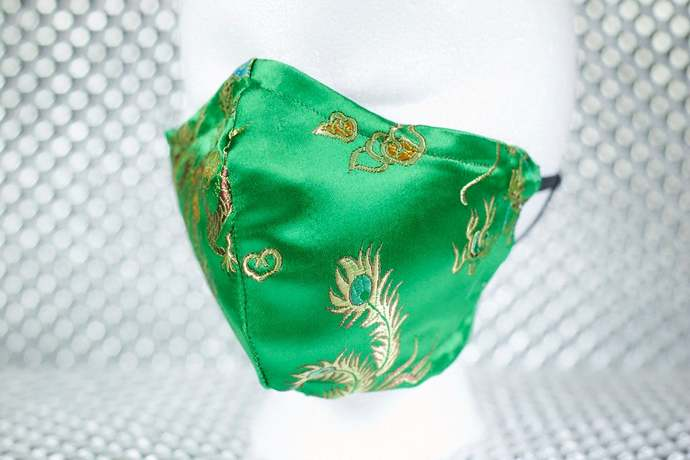 Green & Gold Dragon Brocade Print Handmade 2-Layer Fitted Face Mask with Filter