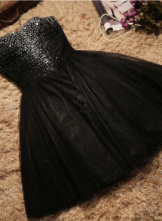 Black Sequins Short Tulle Party Dress, Black Homecoming Dress
